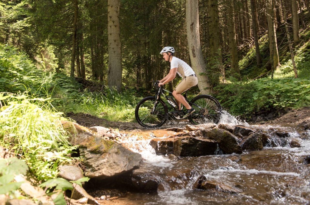 E-Bike Fahrer im Wald