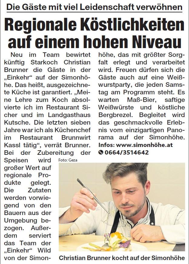 Artikel in Kronen Zeitung über Christian Brunner