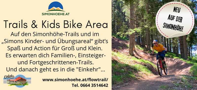 Werbung für die Trails und Kids Area auf der Simonhöhe